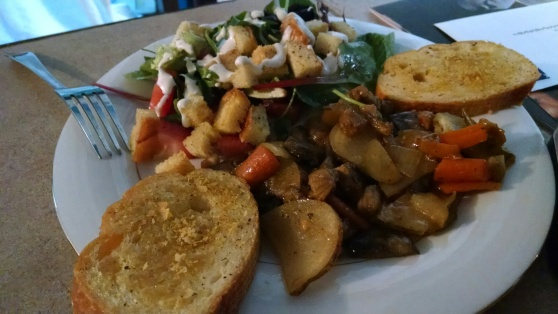 Vegan Sausage Potato Fry with Strawberry Walnut Bleu Cheese Salad and Nutritional Yeast Toast
